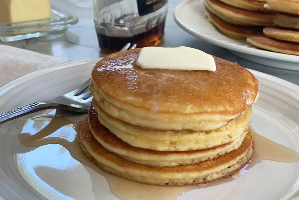 a stack of keto silver dollar pancakes