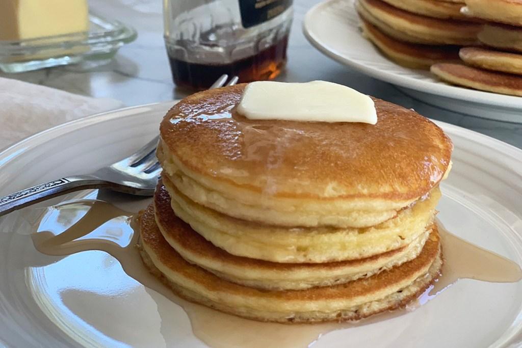 a stack of keto silver dollar pancakes