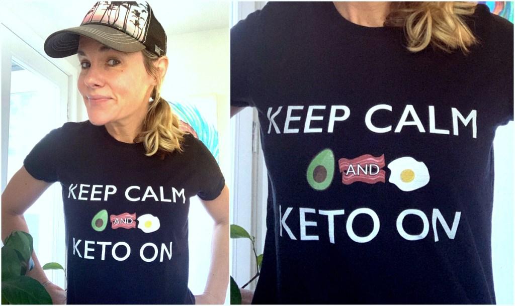 Marley wearing keep calm keto shirt