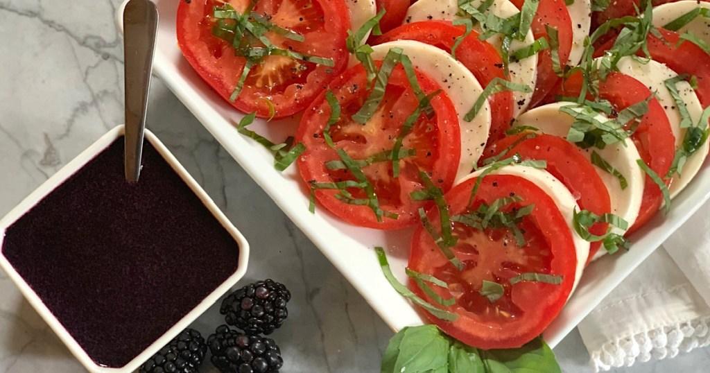 capresse salad with blackberry balsamic glaze