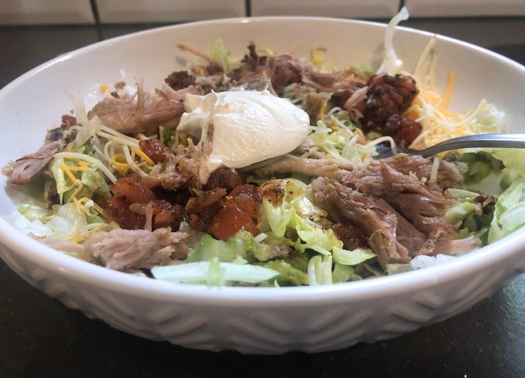 trader joe's carnitas recommendation — finished pork carnitas salad