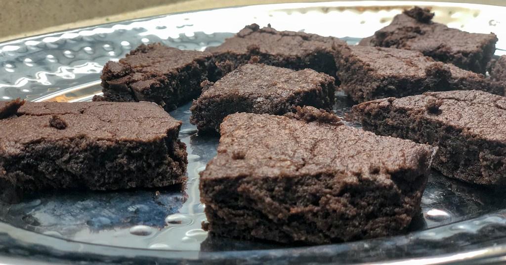 fudgy keto brownies — tray of keto brownies