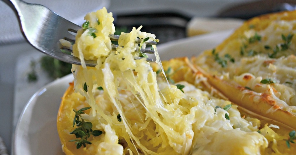 cheesy bite of twiced baked spaghetti squash