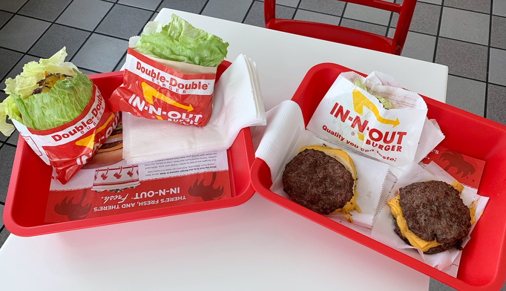 double double and flying dutchman burgers at in-n-out