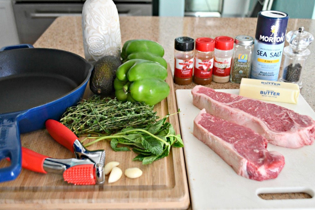 ingredients needed for cajun steak butter bites on the counter