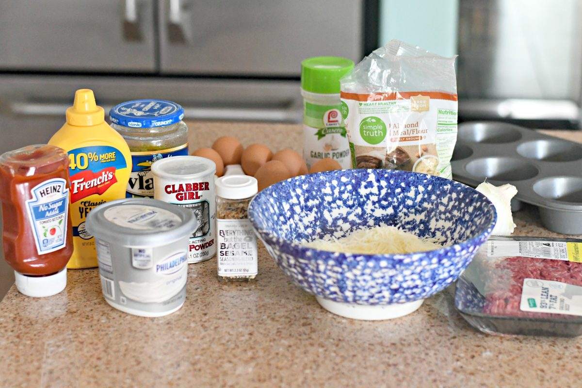 ingredients to make fat head dough cheeseburger muffins
