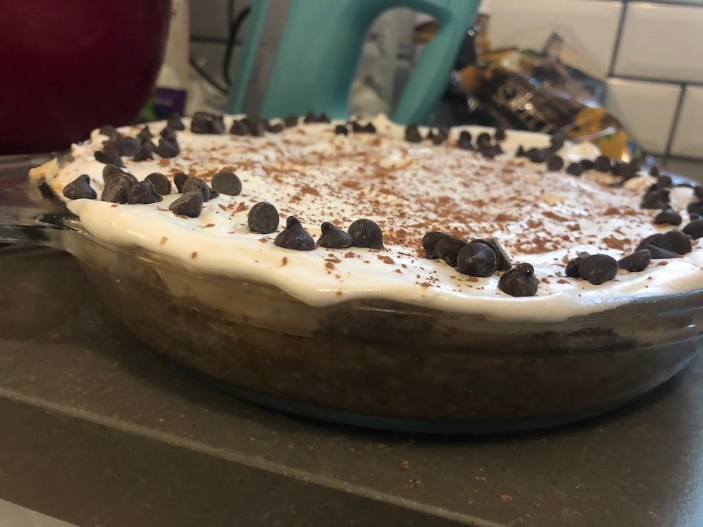 Keto peanut butter cream cheese pie in glass dish