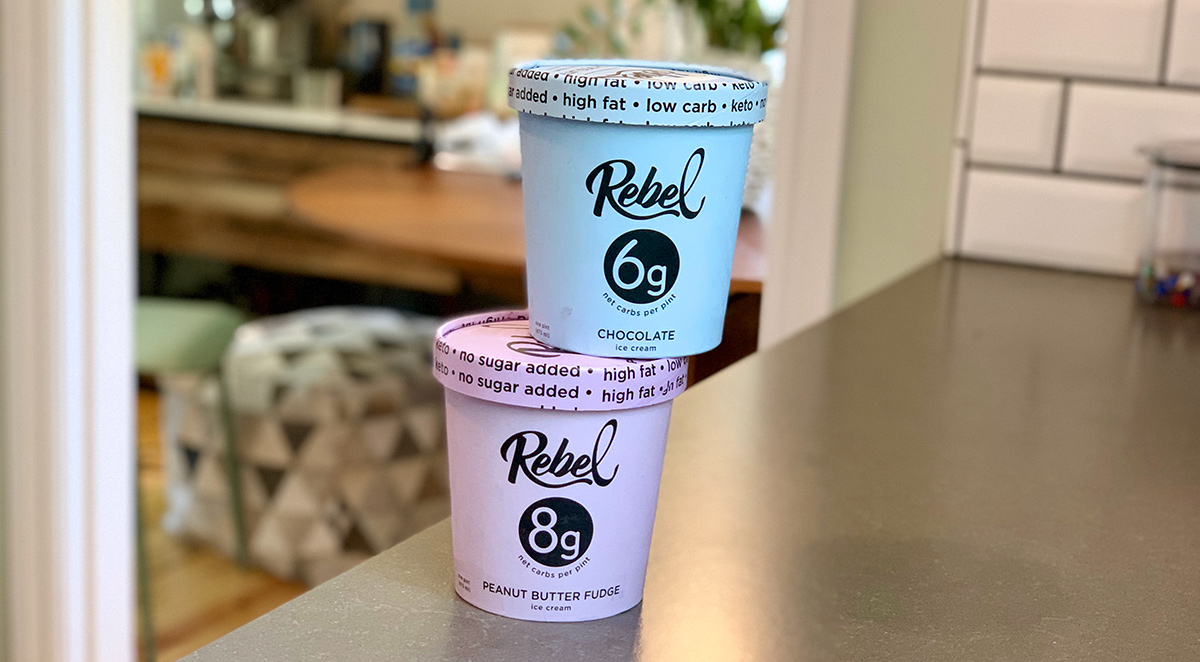 peanut butter fudge and chocolate flavors of rebel ice cream