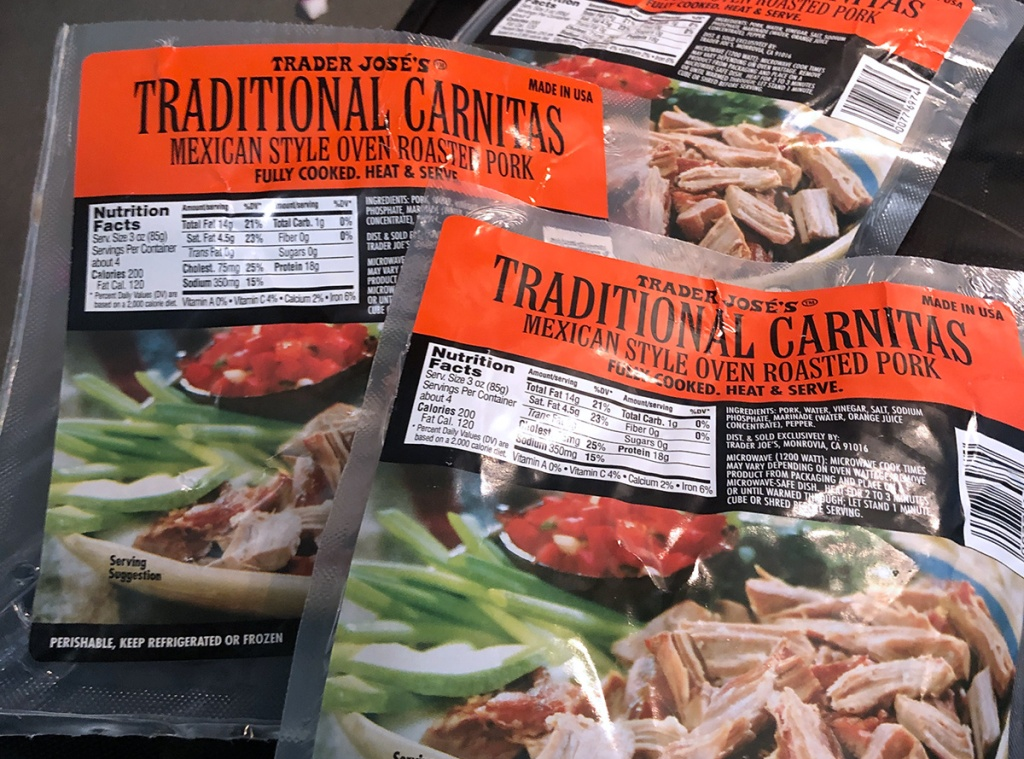 trader joe's carnitas recommendation — packages of trader joe's traditional mexican carnitas