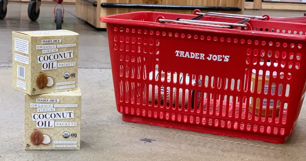 trader joe's coconut oil packets next to shopping basket