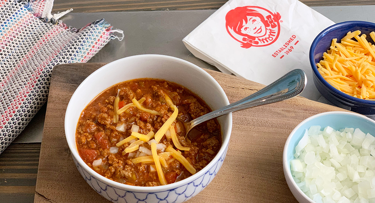 bowl of keto wendy's chili with wendy's bag