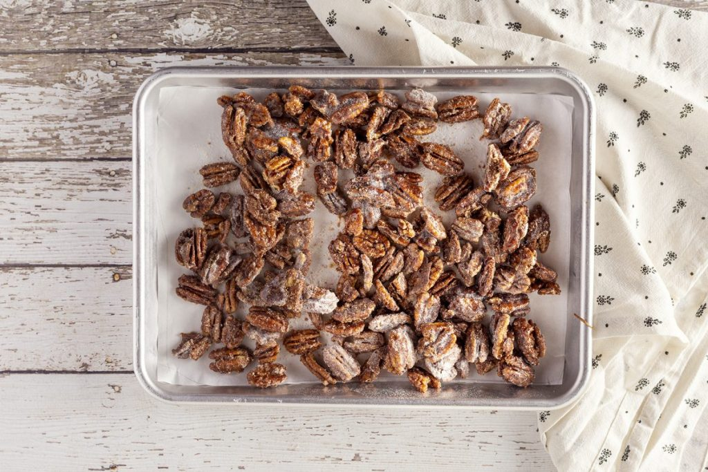 sheet pan with candied keto pecans