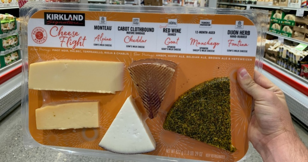 holding Kirkland Cheese Flight at Costco