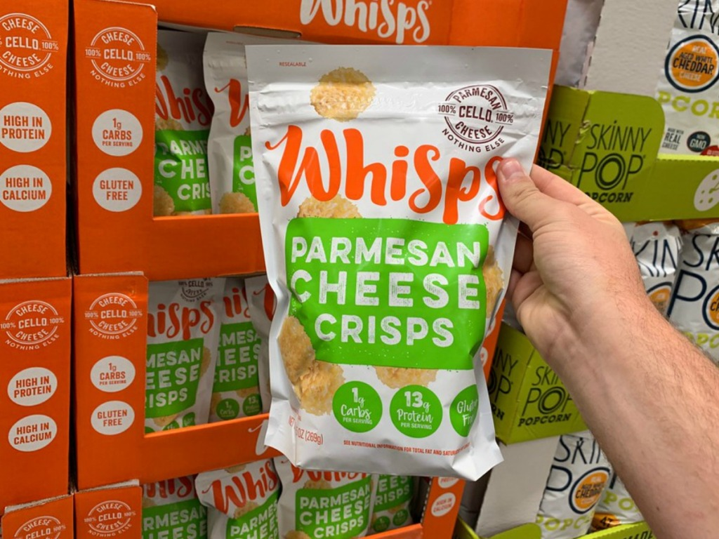 holding whisps cheese crisps at warehouse club