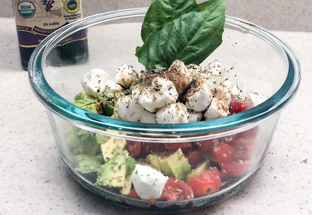 caprese salad ingredients in bowl