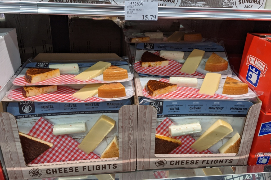 cello cheese flights on display