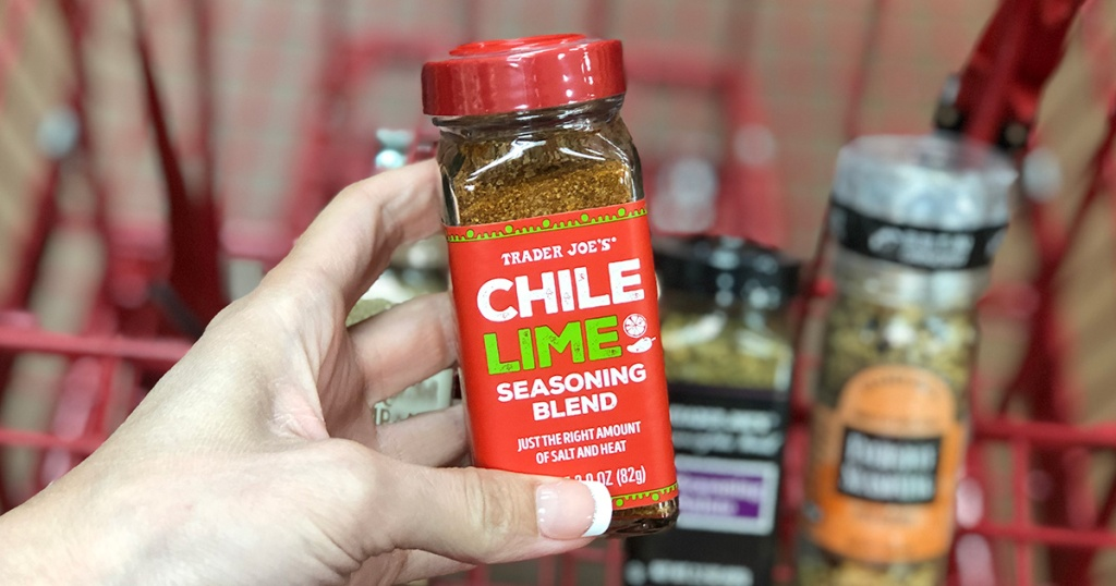 chile lime seasoning and other spices from trader joe's in cart