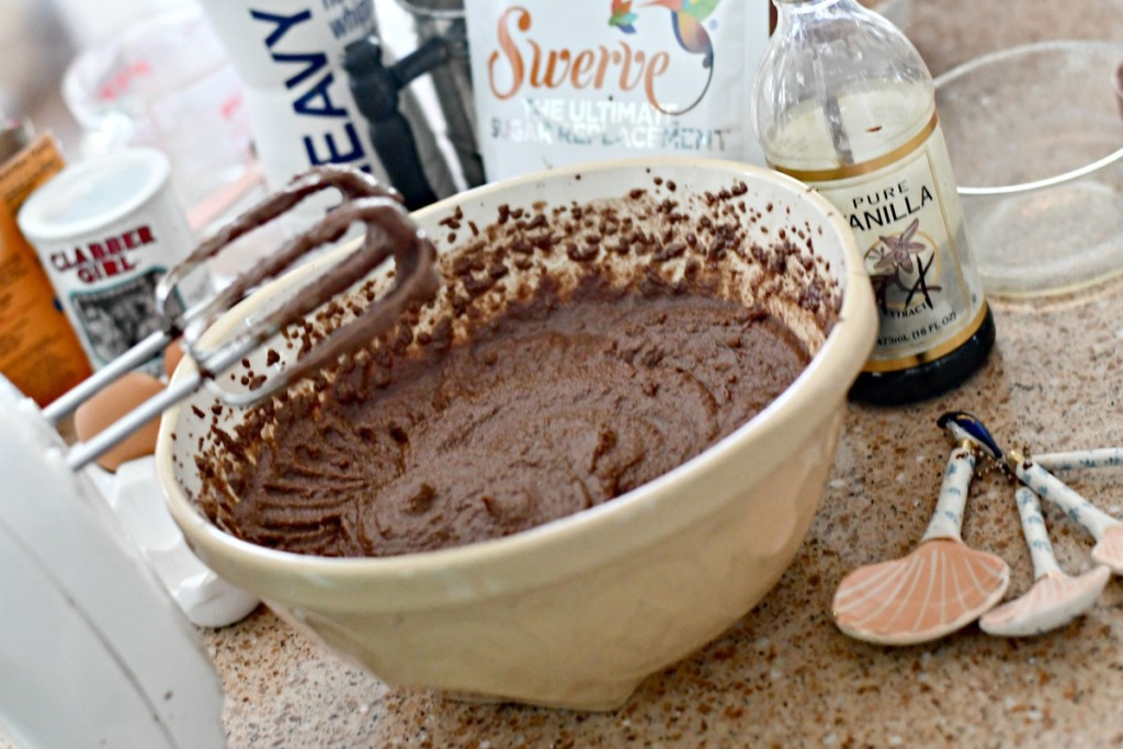 chocolate keto cake in a mixing bowl