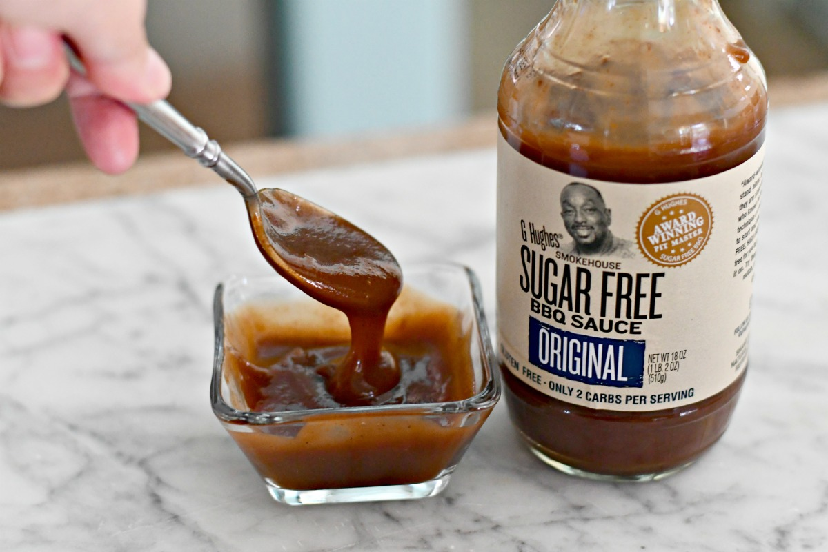 g hughes bbq sauce on a spoon