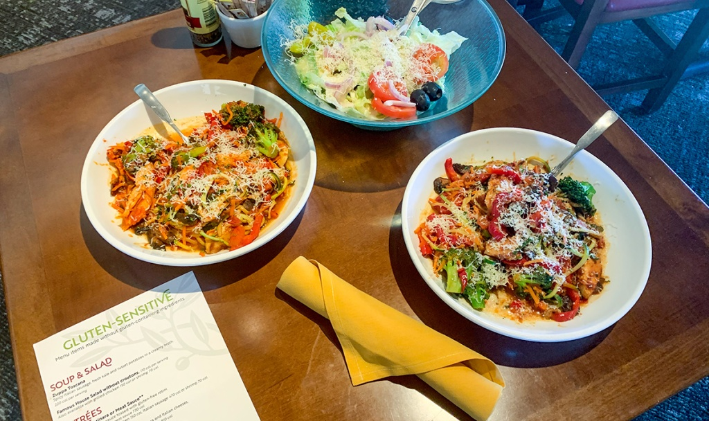 gluten free pasta dishes using zoodles at olive garden