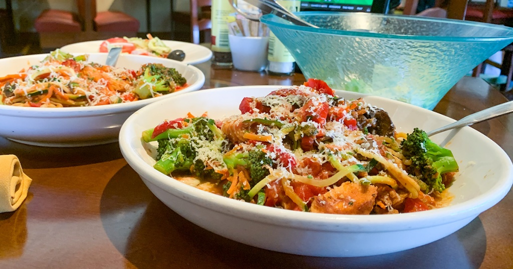 close up of gluten free pasta dishes using zoodles at olive garden