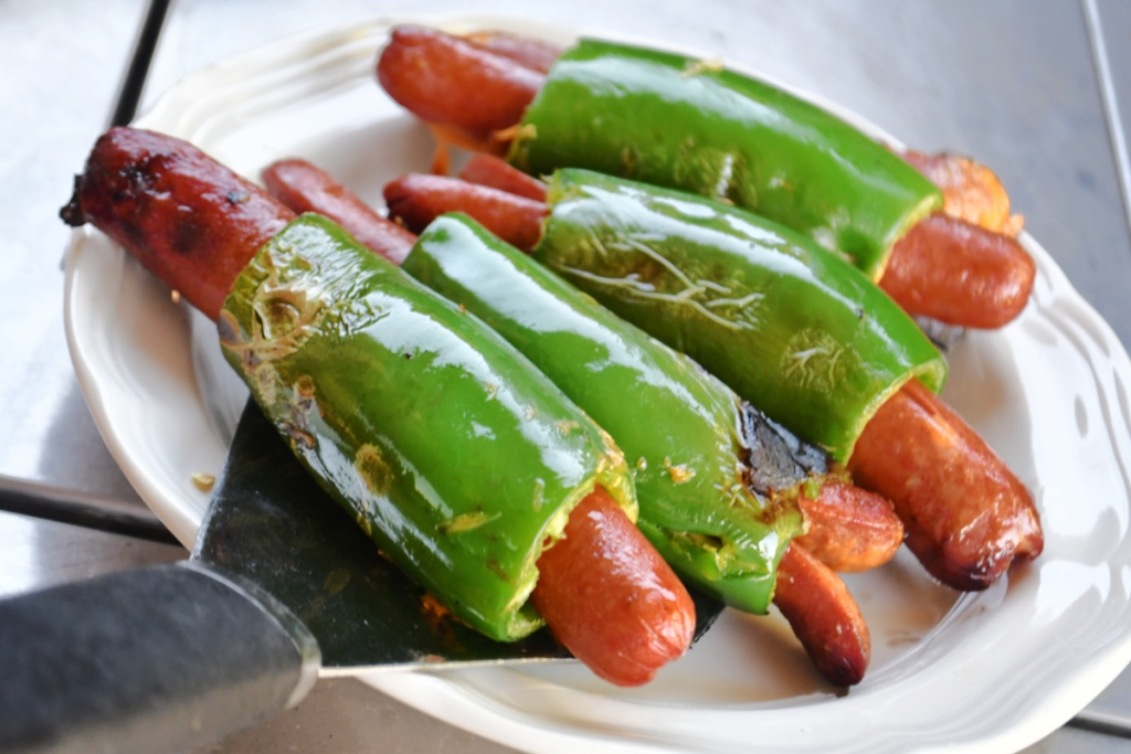 keto jalapeno hot dogs on plate