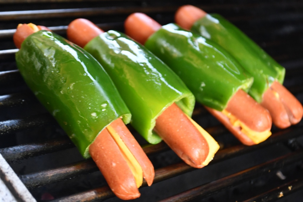 keto jalapeno wrapped hot dogs on grill