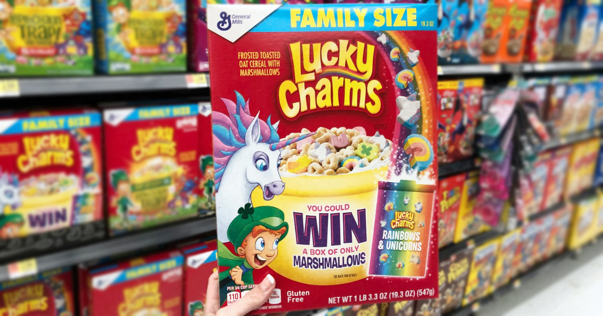 box of lucky charms cereal in store