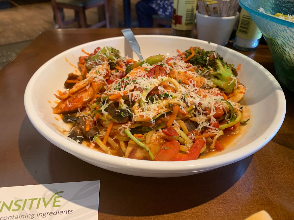 bowl of Olive Garden zoodles with cheese