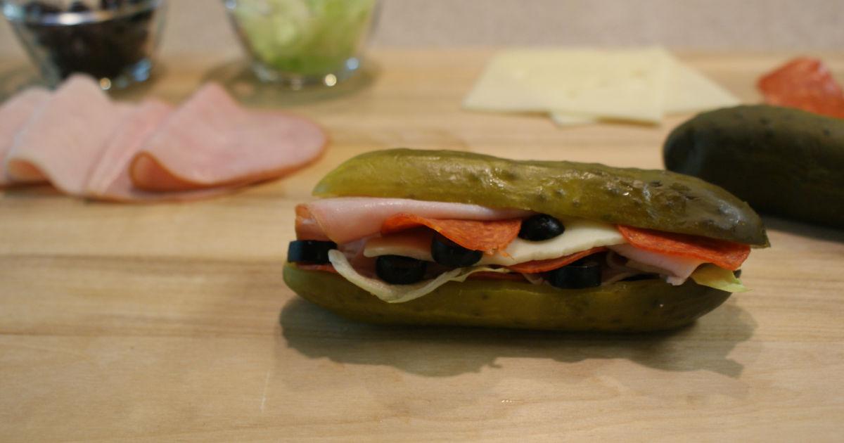 pickle sandwich on a cutting board