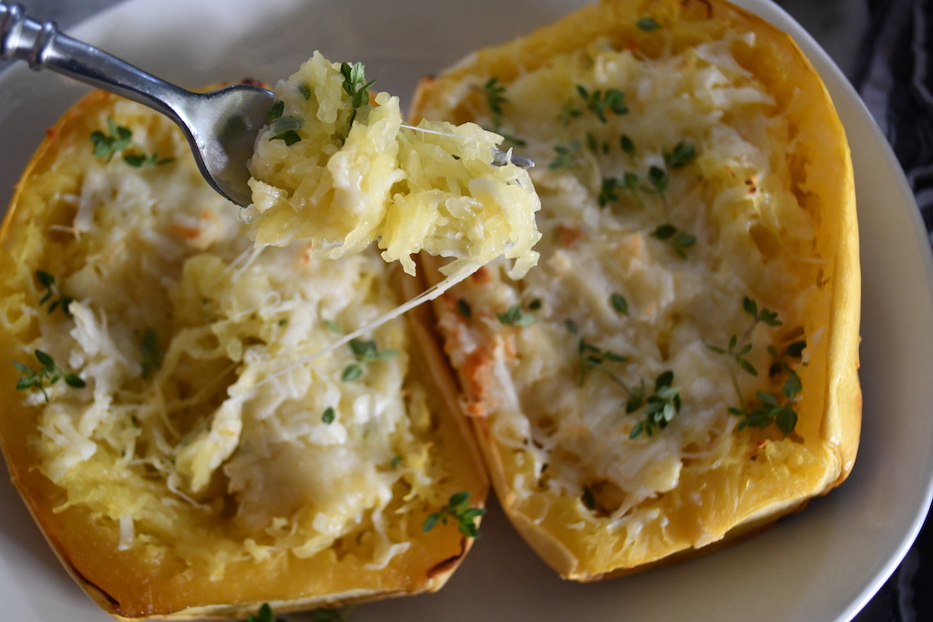 cheesy bite of twiced baked keto spaghetti squash