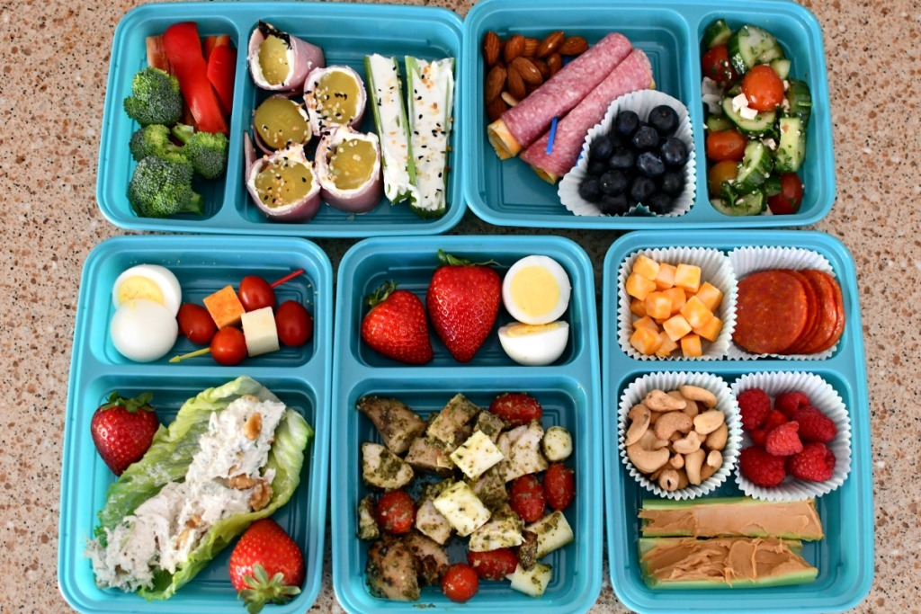 5 days of keto school lunches on the counter