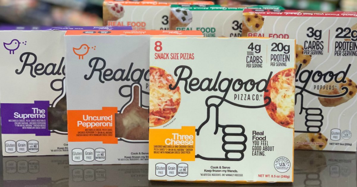 Realgood keto & low-carb frozen products on shelf