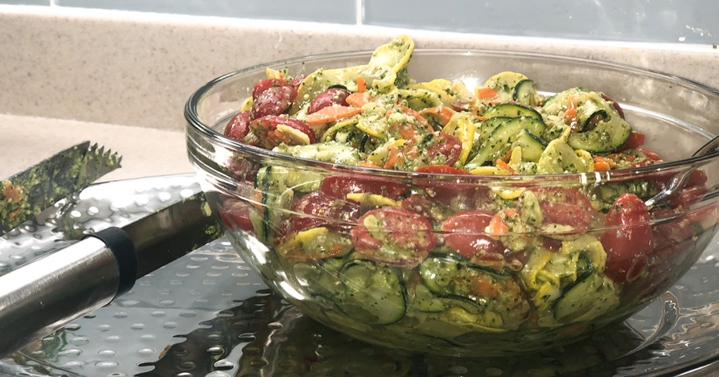 bowl full of zucchini summer salad