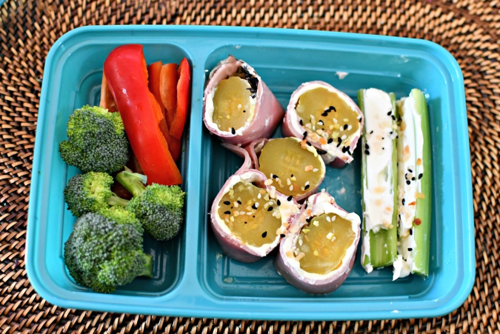 ham and pickle roll ups bento box