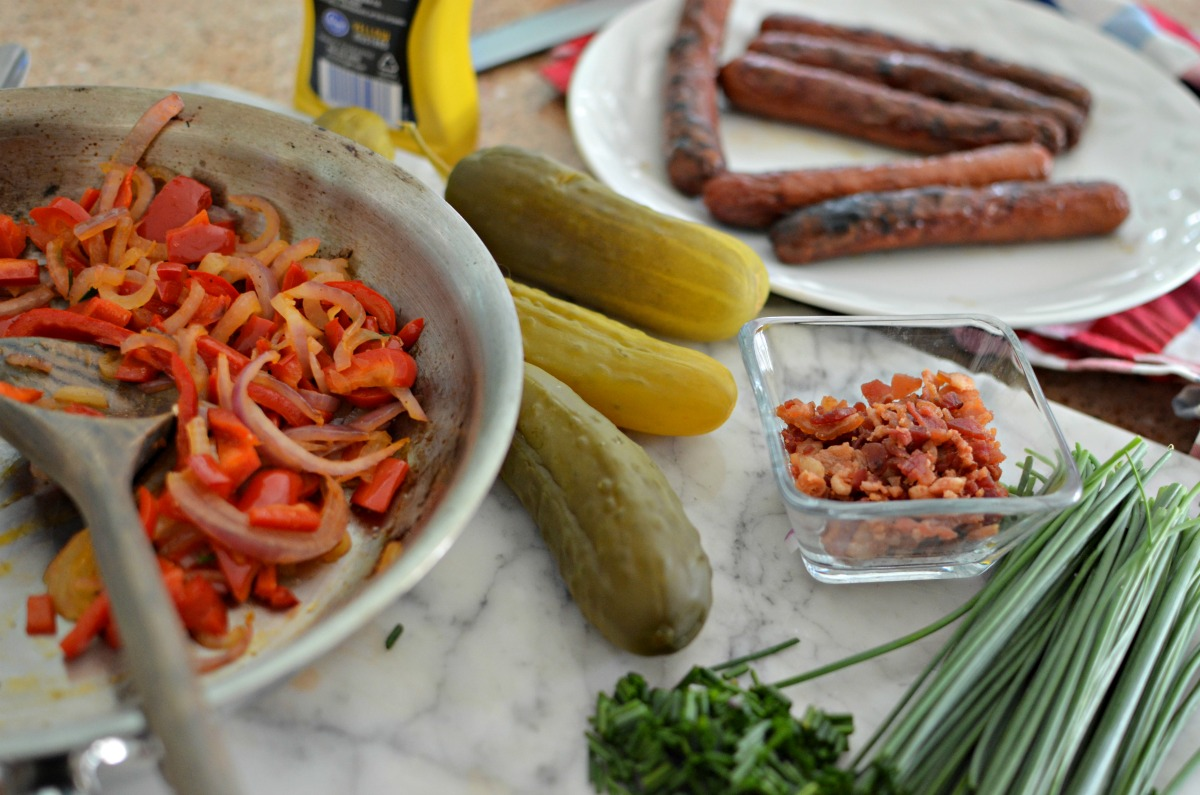ingredients for grilled keto pickle dogs on the counter