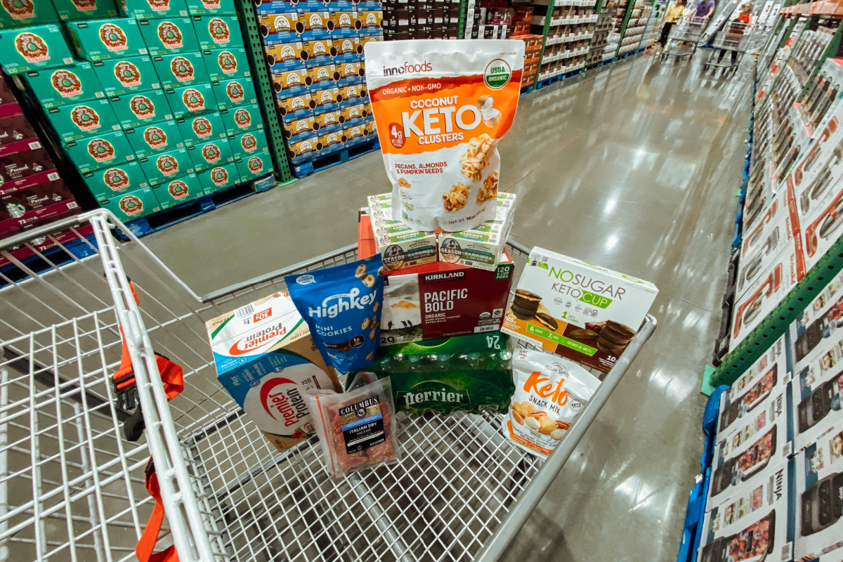 Keto items in Costco grocery cart