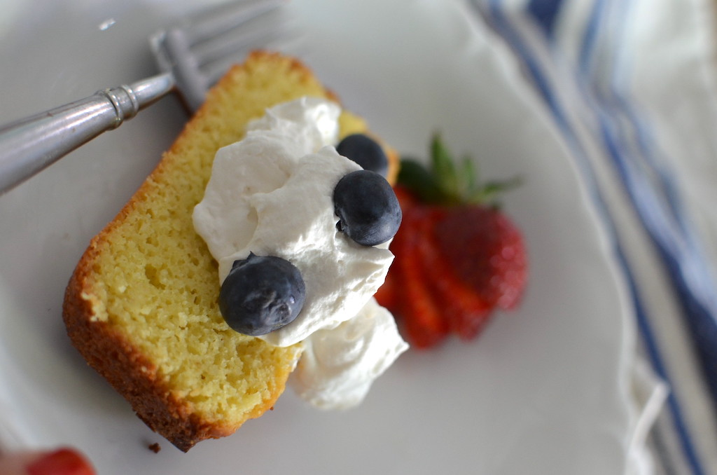 keto pound cake whipped cream with blueberries