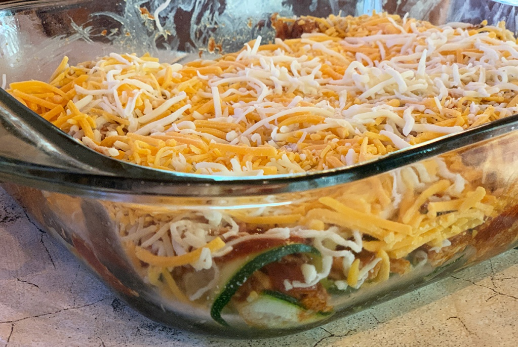 keto zucchini enchilada casserole ready to bake