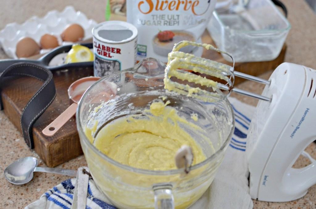mixing keto pound cake