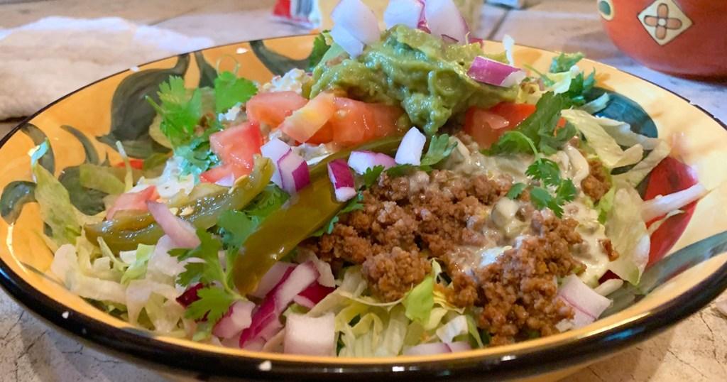 bowl with keto-friendly nacho fixings