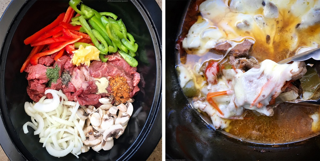 slow cooker with veggies and beef making low carb philly cheesesteak