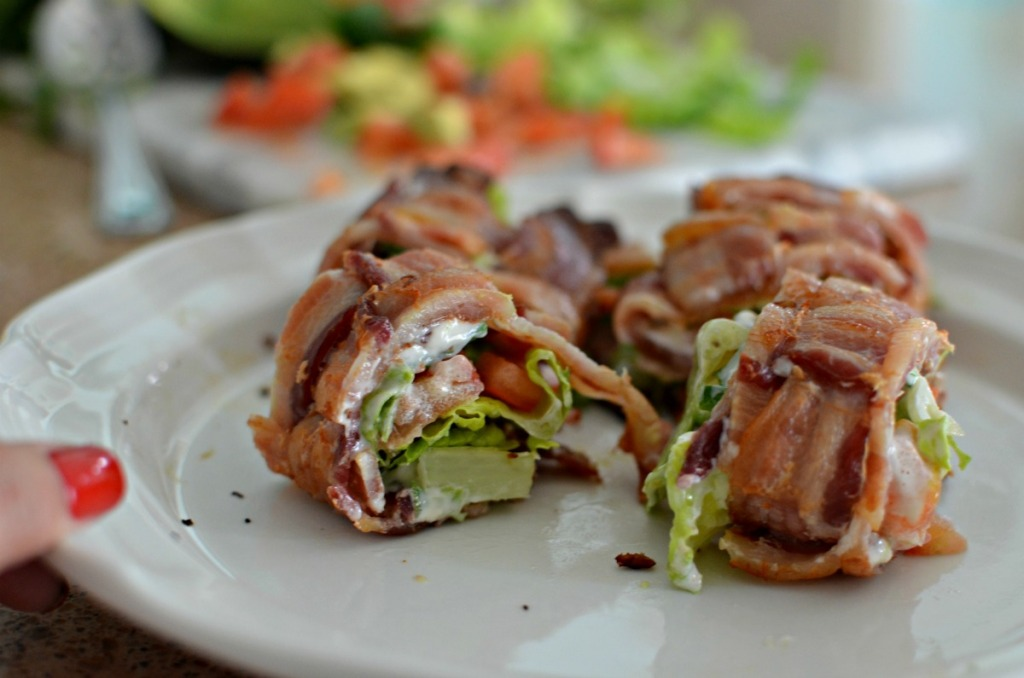 slices of keto BLT sushi on a plate