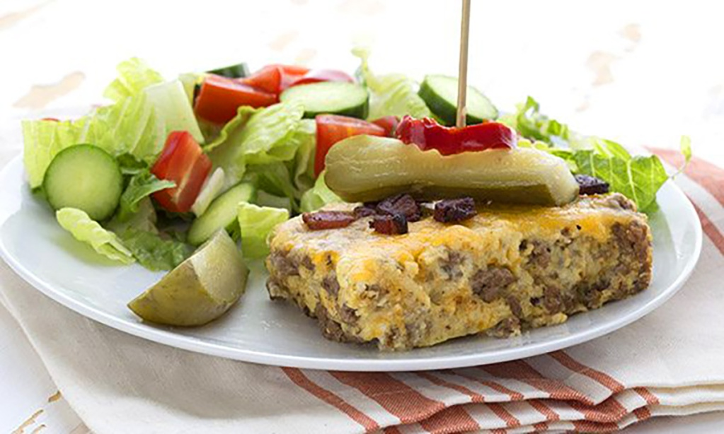 cheeseburger pie and side salad from All Day I Dream About Food