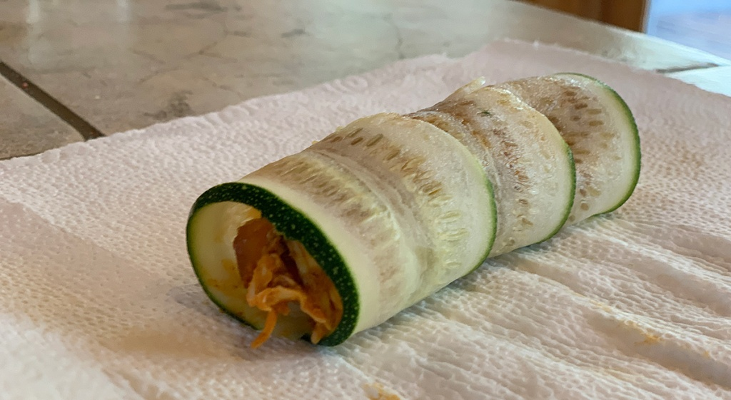 zucchini roll with chicken enchilada filling