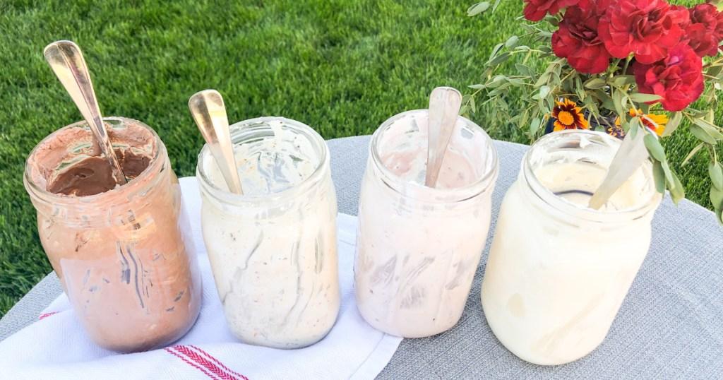 keto ice cream in mason jars