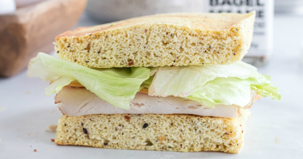 turkey and lettuce sandwich made with keto bread