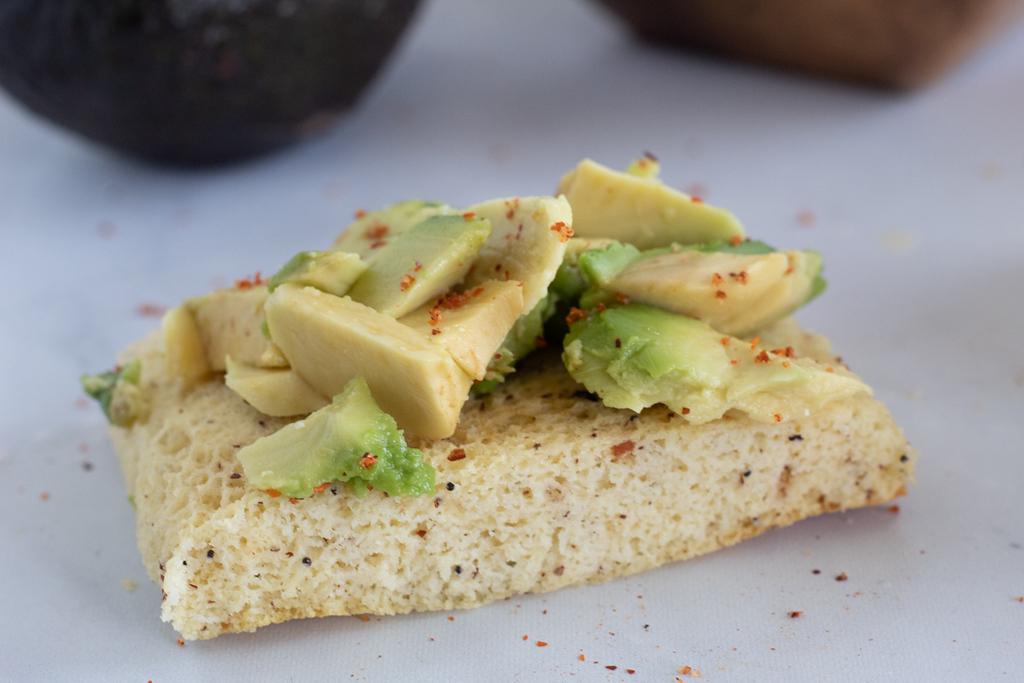 sliced avocado on keto bread