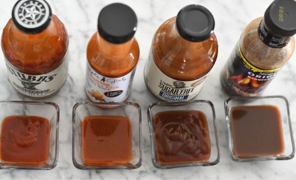 BBQ sauce in ramekins next to original containers