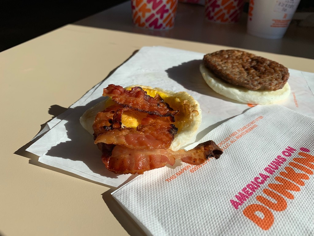 Dunkin' bacon egg keto sandwich